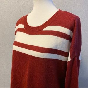 Cinnamon Red & White Stripe Lightweight Sweater